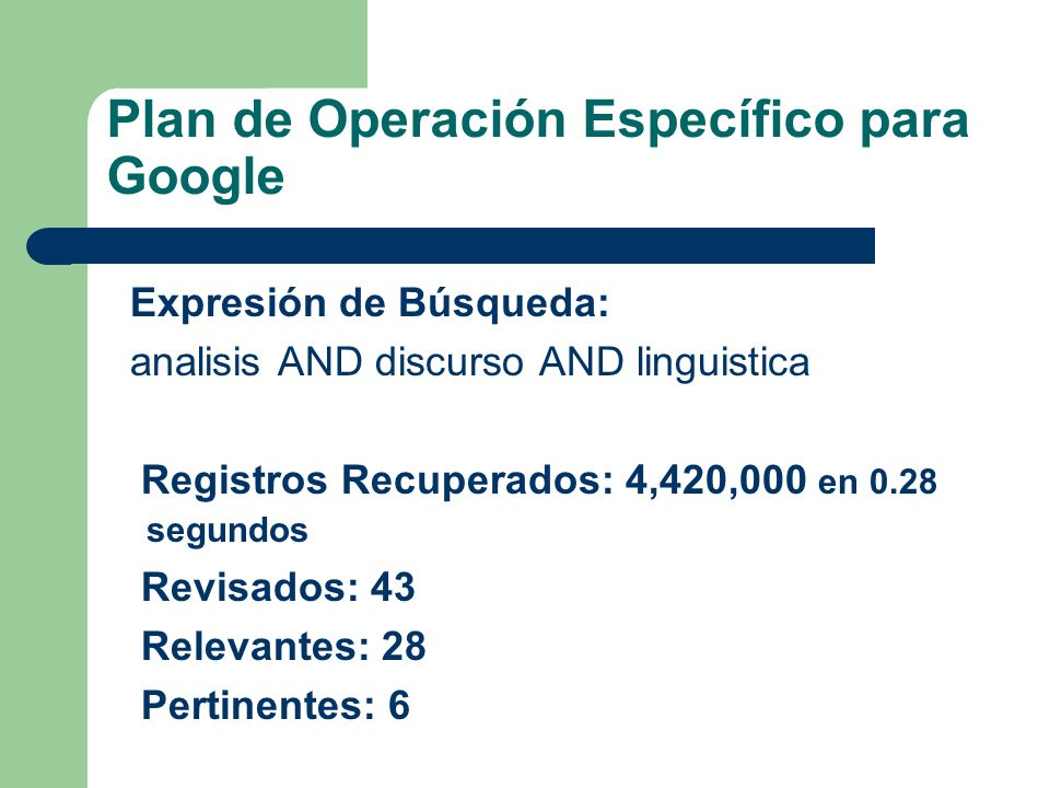 Plan de Operación Específico para Google