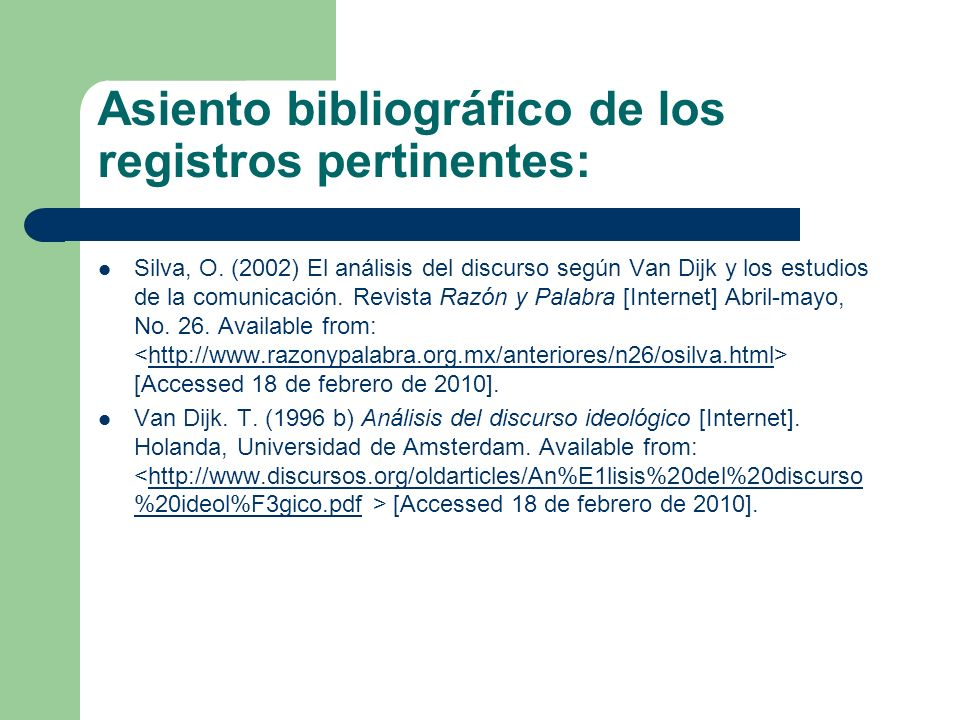 Asiento bibliográfico de los registros pertinentes: