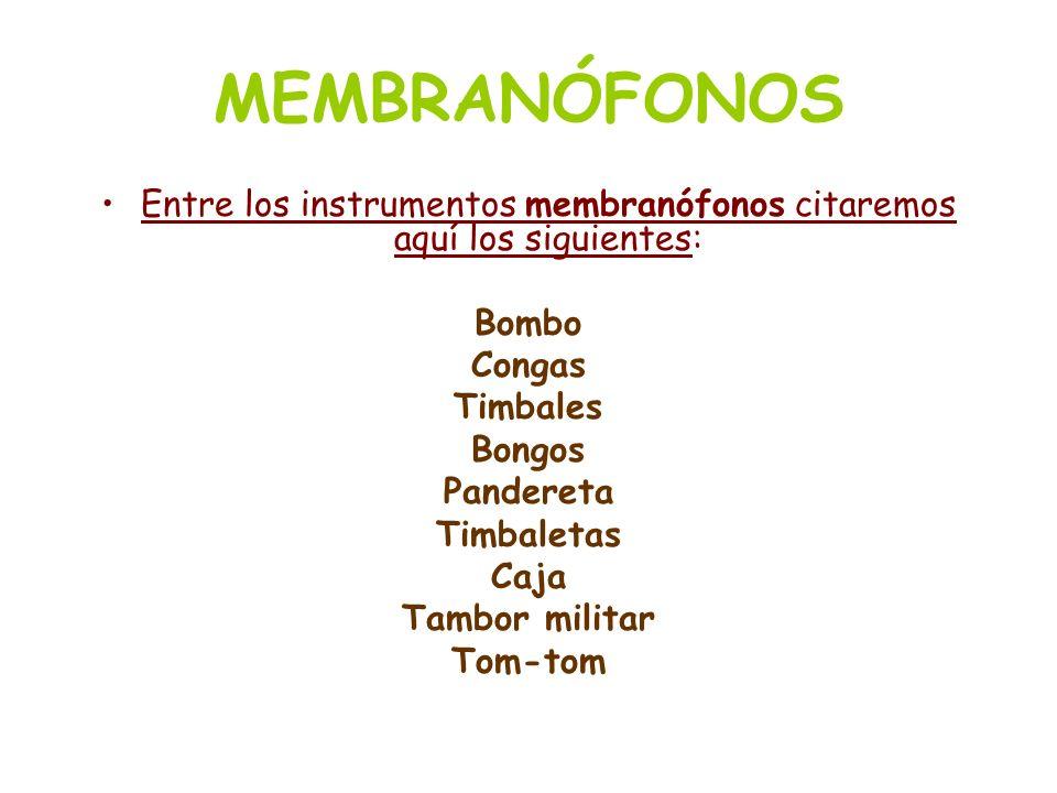Entre los instrumentos membranófonos citaremos aquí los siguientes: