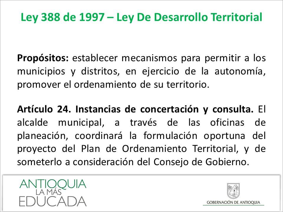 Ley 388 de 1997 – Ley De Desarrollo Territorial