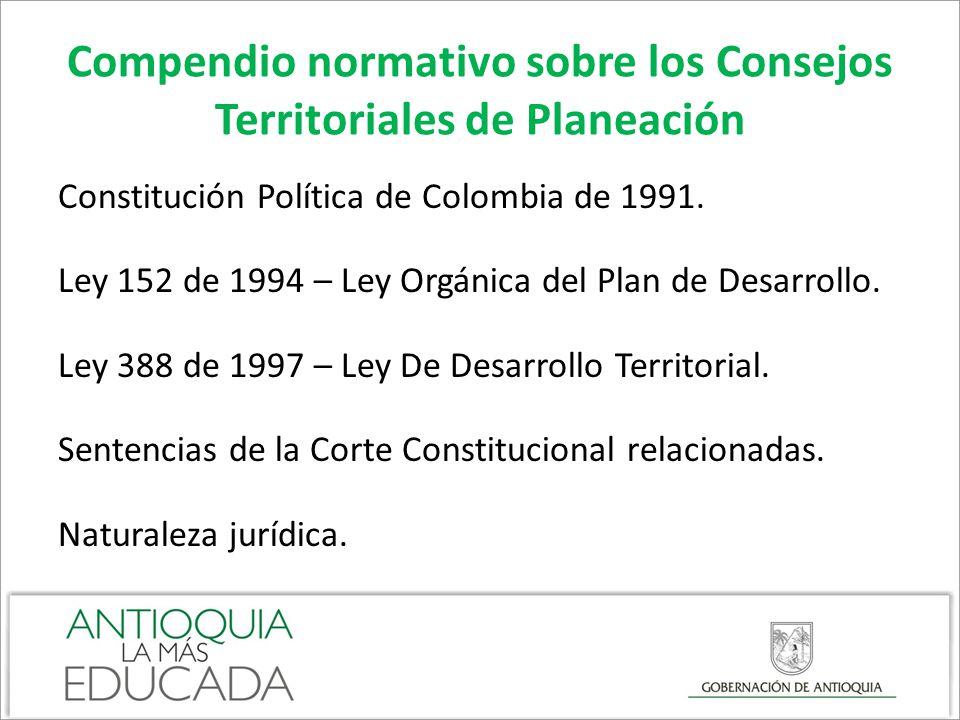 Compendio normativo sobre los Consejos Territoriales de Planeación