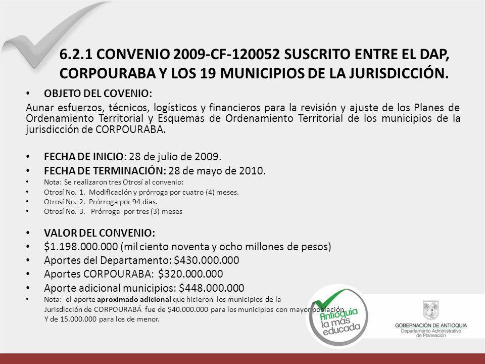 6.2.1 CONVENIO 2009-CF-120052 SUSCRITO ENTRE EL DAP, CORPOURABA Y LOS 19 MUNICIPIOS DE LA JURISDICCIÓN.