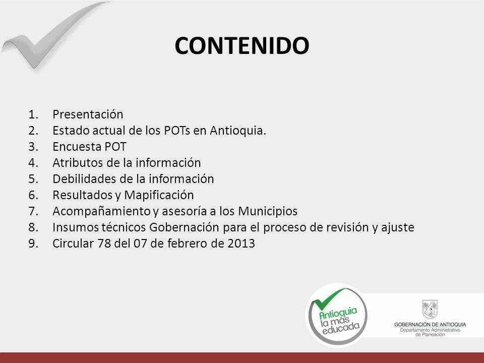 CONTENIDO Presentación Estado actual de los POTs en Antioquia.