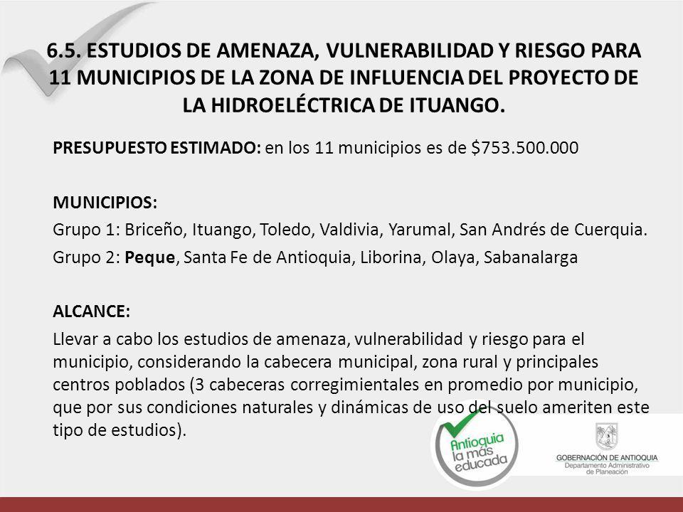 6.5. ESTUDIOS DE AMENAZA, VULNERABILIDAD Y RIESGO PARA 11 MUNICIPIOS DE LA ZONA DE INFLUENCIA DEL PROYECTO DE LA HIDROELÉCTRICA DE ITUANGO.