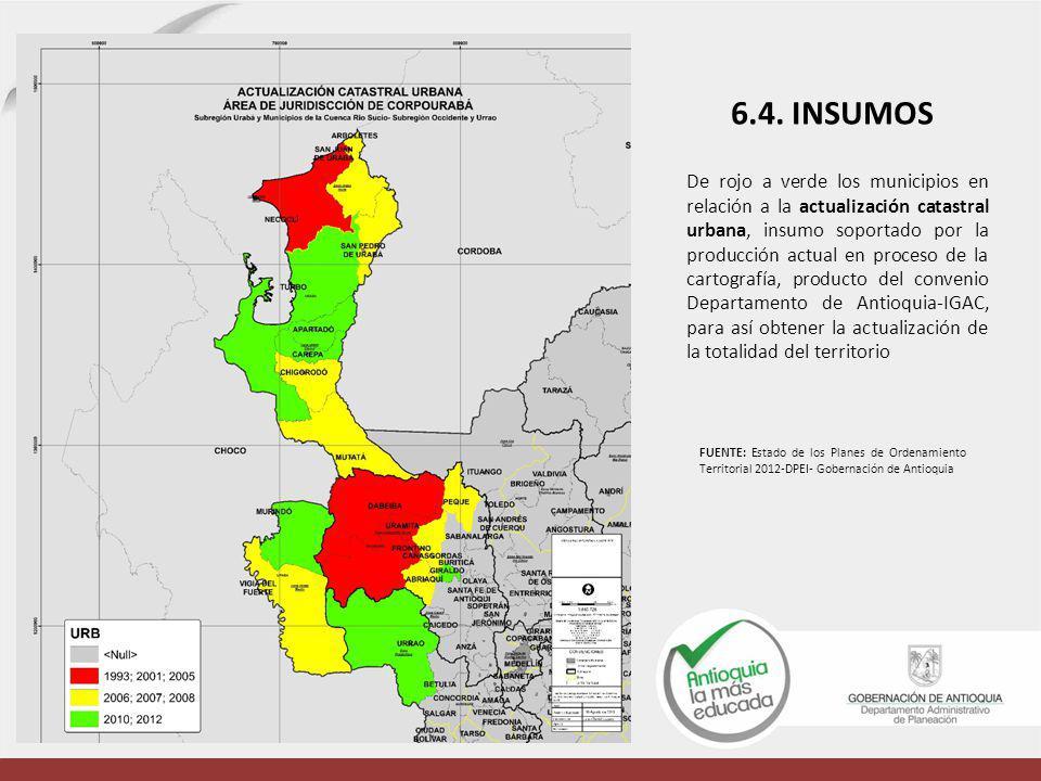 De rojo a verde los municipios en relación a la actualización catastral urbana, insumo soportado por la producción actual en proceso de la cartografía, producto del convenio Departamento de Antioquia-IGAC, para así obtener la actualización de la totalidad del territorio