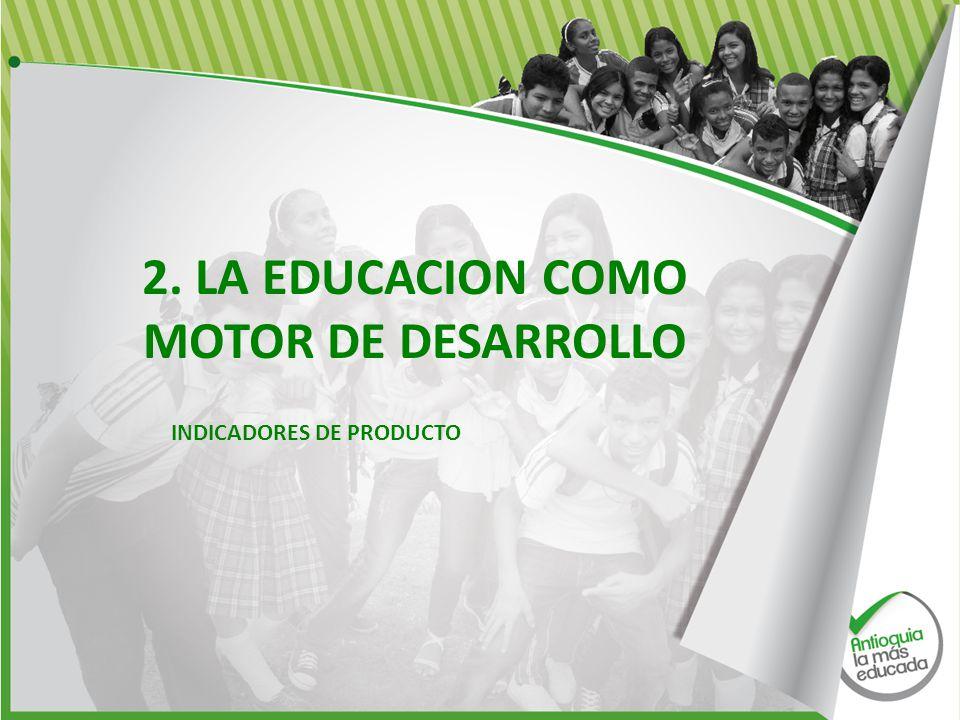 2. LA EDUCACION COMO MOTOR DE DESARROLLO INDICADORES DE PRODUCTO