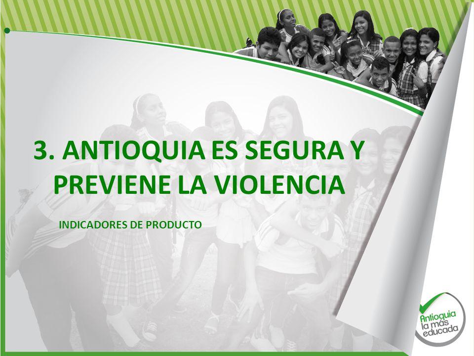3. ANTIOQUIA ES SEGURA Y PREVIENE LA VIOLENCIA INDICADORES DE PRODUCTO