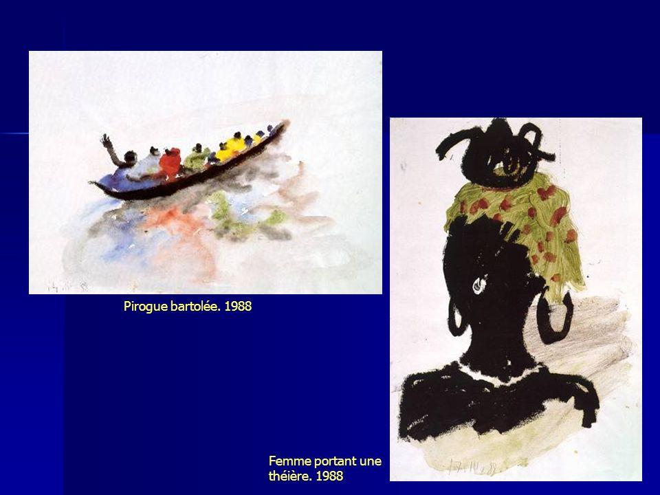 Pirogue bartolée. 1988 Femme portant une théière. 1988