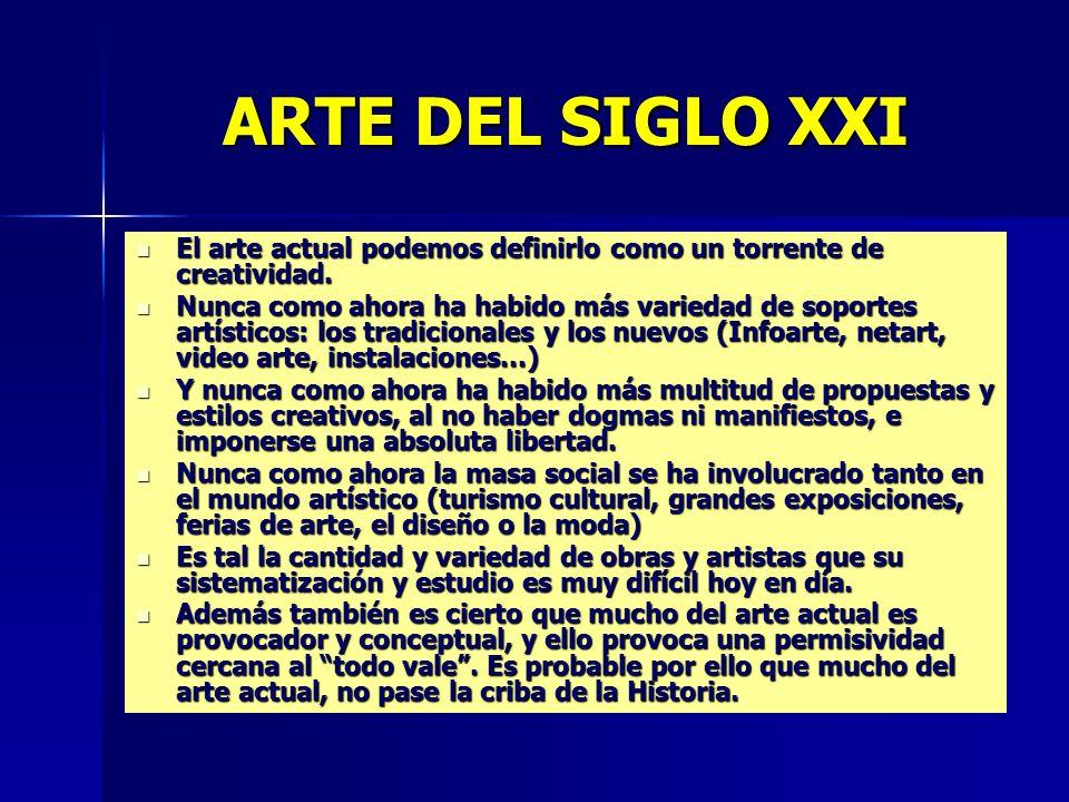 ARTE DEL SIGLO XXI El arte actual podemos definirlo como un torrente de creatividad.