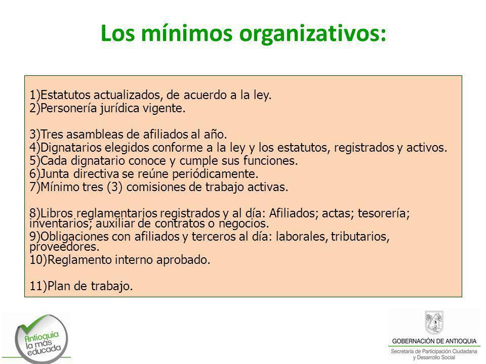 Los mínimos organizativos: