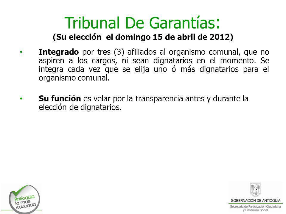 Tribunal De Garantías: (Su elección el domingo 15 de abril de 2012)