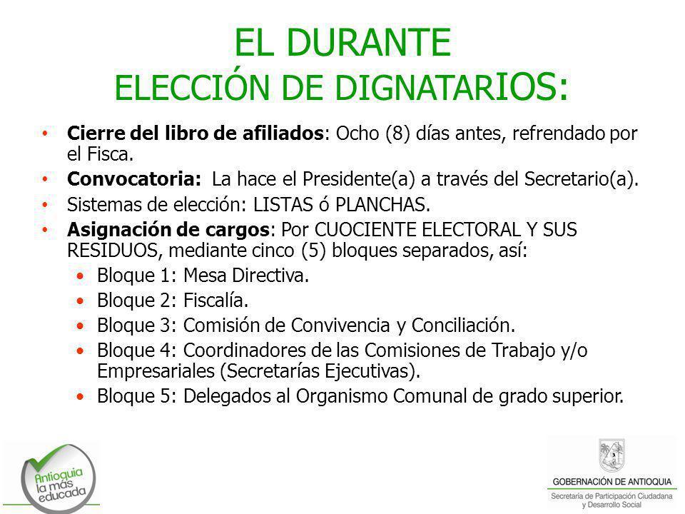EL DURANTE ELECCIÓN DE DIGNATARIOS: