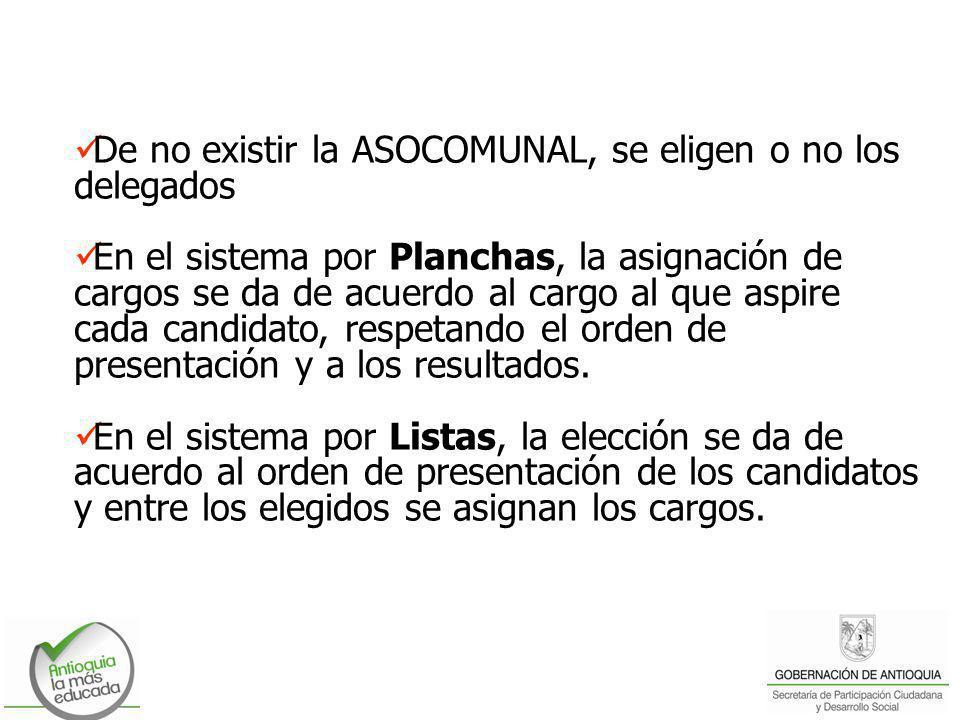 De no existir la ASOCOMUNAL, se eligen o no los delegados