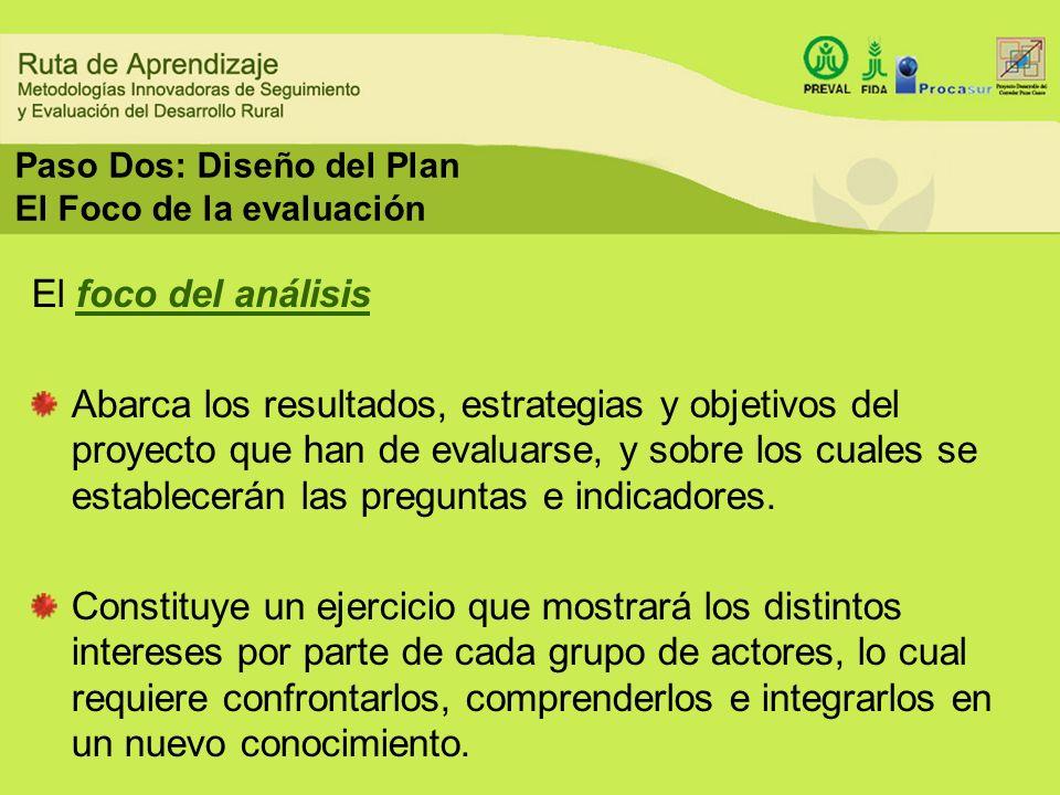 Paso Dos: Diseño del Plan El Foco de la evaluación