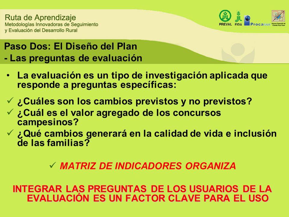 Paso Dos: El Diseño del Plan - Las preguntas de evaluación
