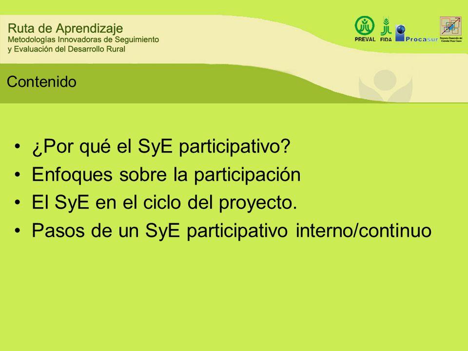 ¿Por qué el SyE participativo Enfoques sobre la participación