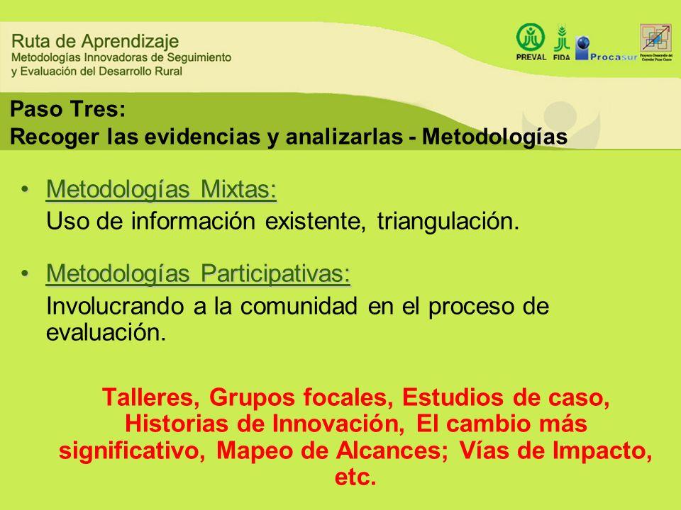 Paso Tres: Recoger las evidencias y analizarlas - Metodologías