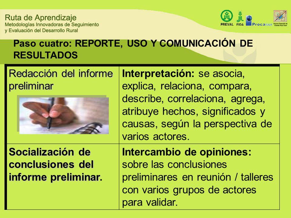 Redacción del informe preliminar