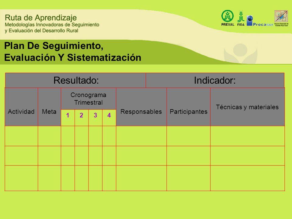 Plan De Seguimiento, Evaluación Y Sistematización