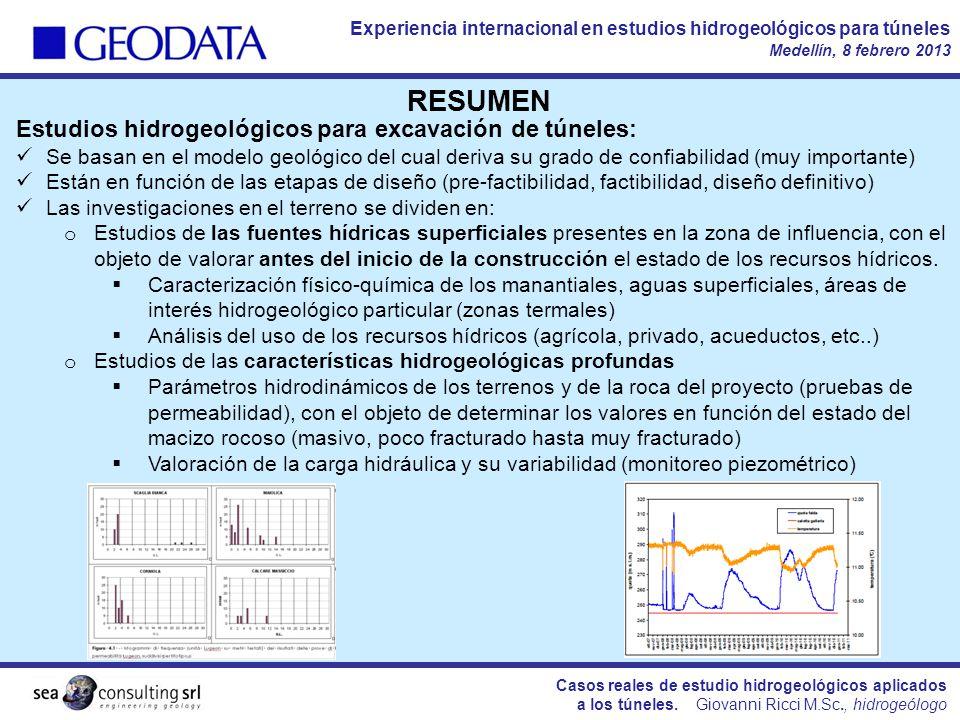 RESUMEN Estudios hidrogeológicos para excavación de túneles:
