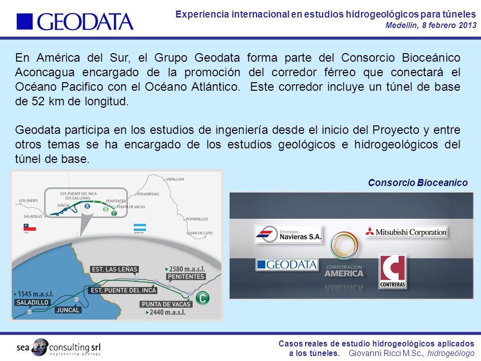 En América del Sur, el Grupo Geodata forma parte del Consorcio Bioceánico Aconcagua encargado de la promoción del corredor férreo que conectará el Océano Pacifico con el Océano Atlántico. Este corredor incluye un túnel de base de 52 km de longitud.