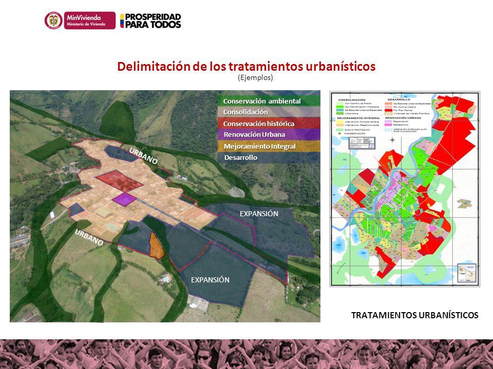 Delimitación de los tratamientos urbanísticos