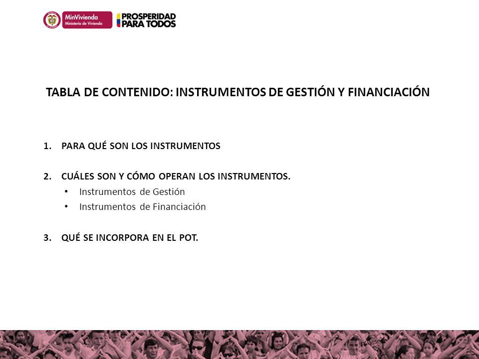 TABLA DE CONTENIDO: INSTRUMENTOS DE GESTIÓN Y FINANCIACIÓN