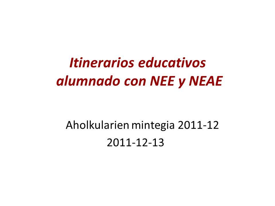 Itinerarios educativos alumnado con NEE y NEAE