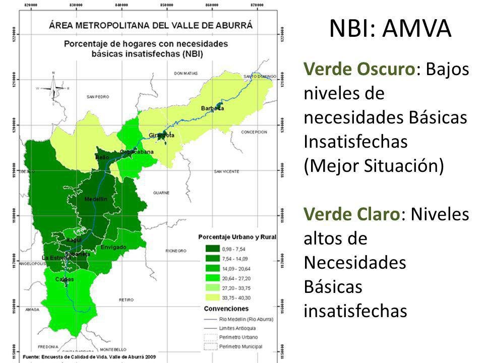 NBI: AMVA Verde Oscuro: Bajos niveles de necesidades Básicas Insatisfechas. (Mejor Situación)