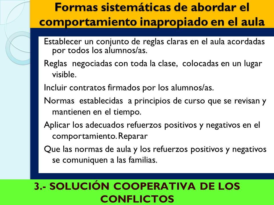 3.- SOLUCIÓN COOPERATIVA DE LOS CONFLICTOS