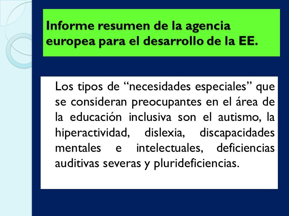 Informe resumen de la agencia europea para el desarrollo de la EE.