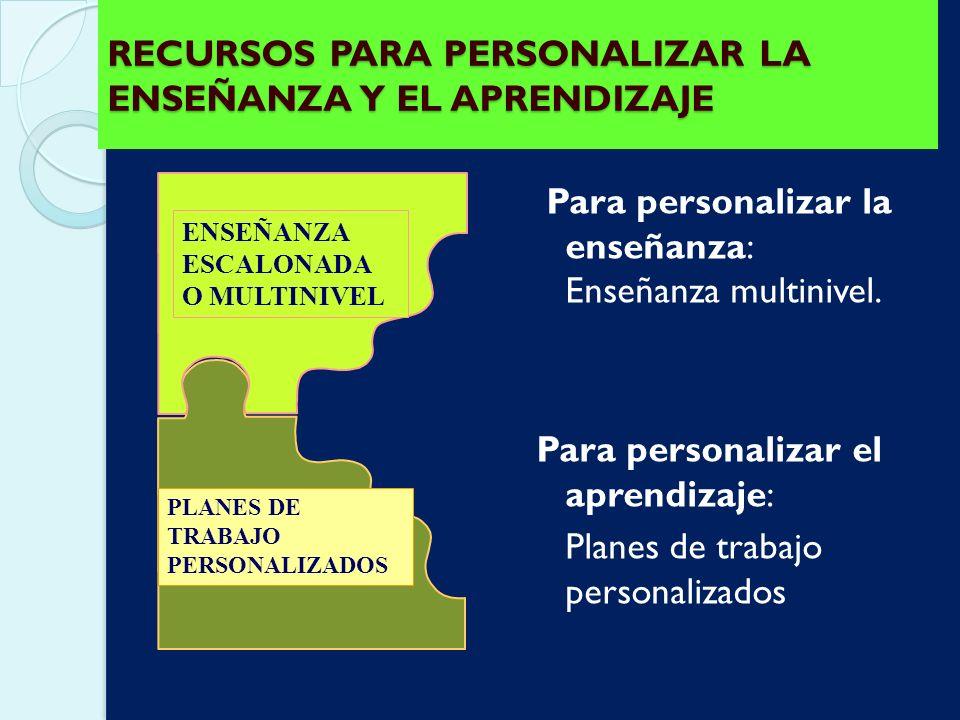 RECURSOS PARA PERSONALIZAR LA ENSEÑANZA Y EL APRENDIZAJE