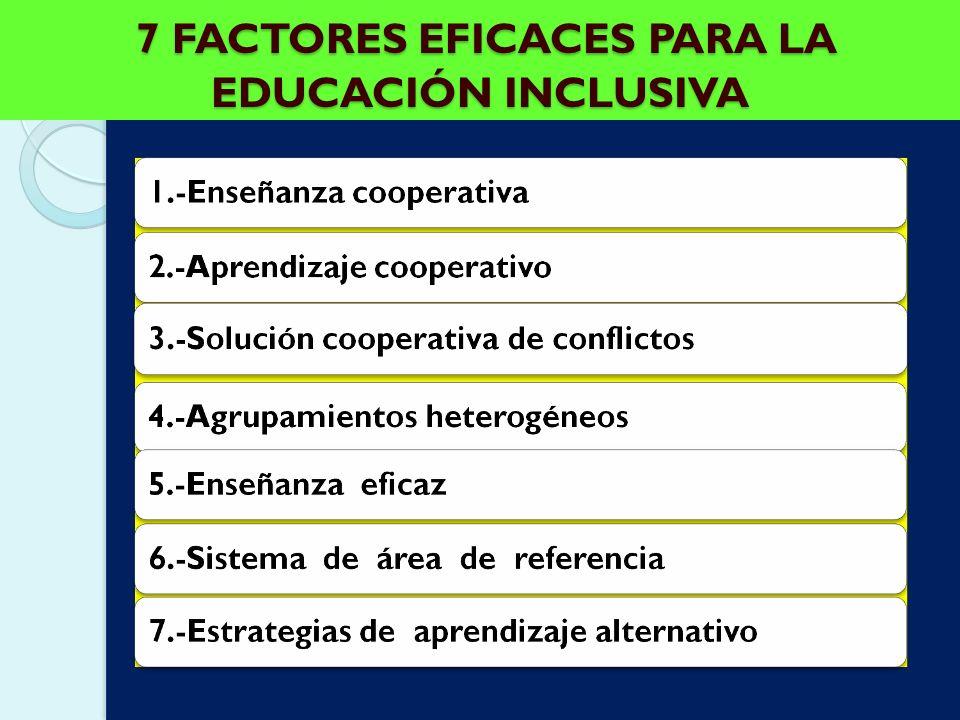 7 FACTORES EFICACES PARA LA EDUCACIÓN INCLUSIVA