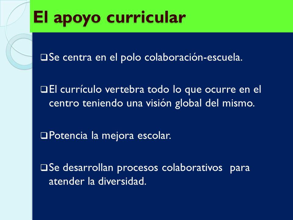 El apoyo curricular Se centra en el polo colaboración-escuela.