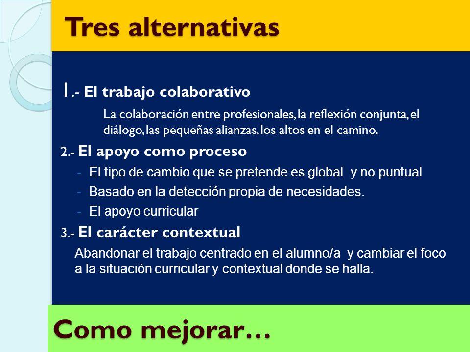 Tres alternativas Como mejorar… 1.- El trabajo colaborativo