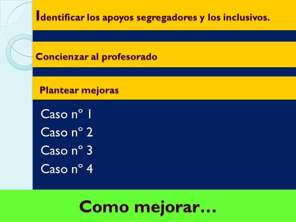 Identificar los apoyos segregadores y los inclusivos.