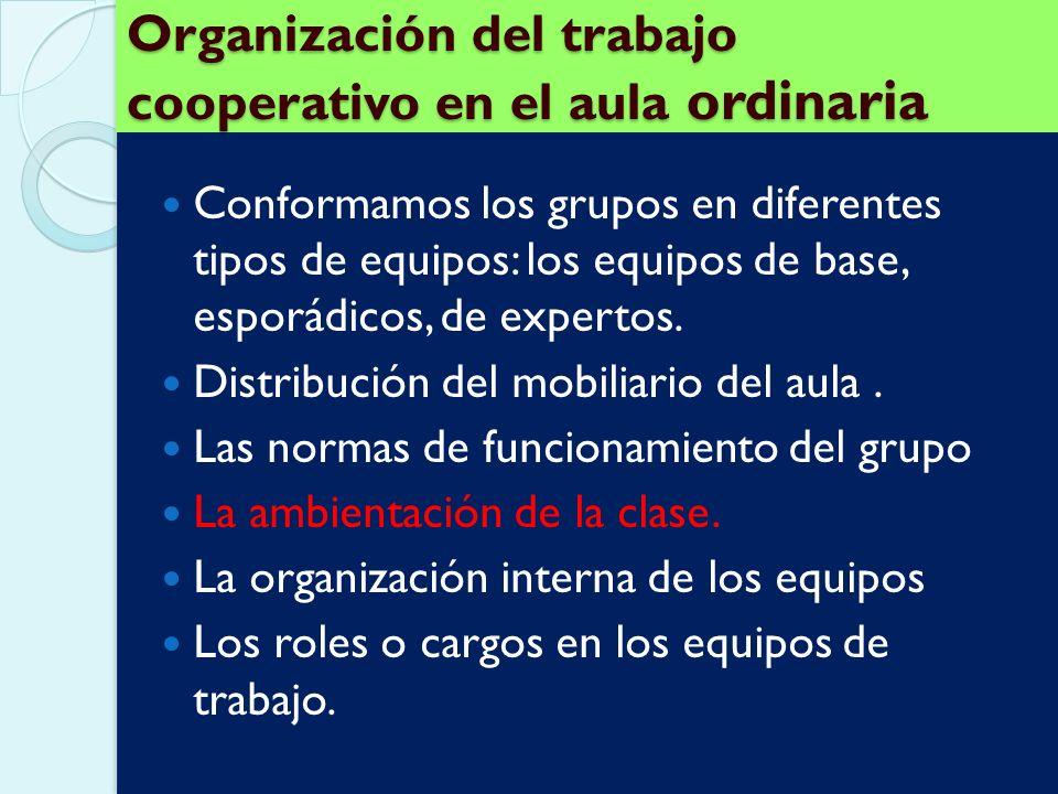 Organización del trabajo cooperativo en el aula ordinaria