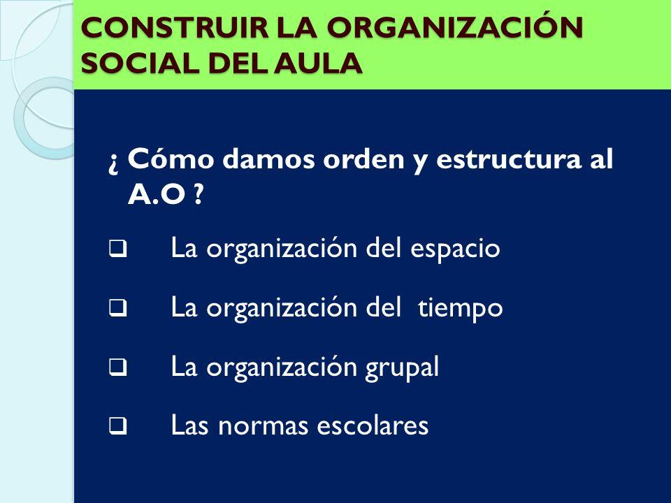 CONSTRUIR LA ORGANIZACIÓN SOCIAL DEL AULA