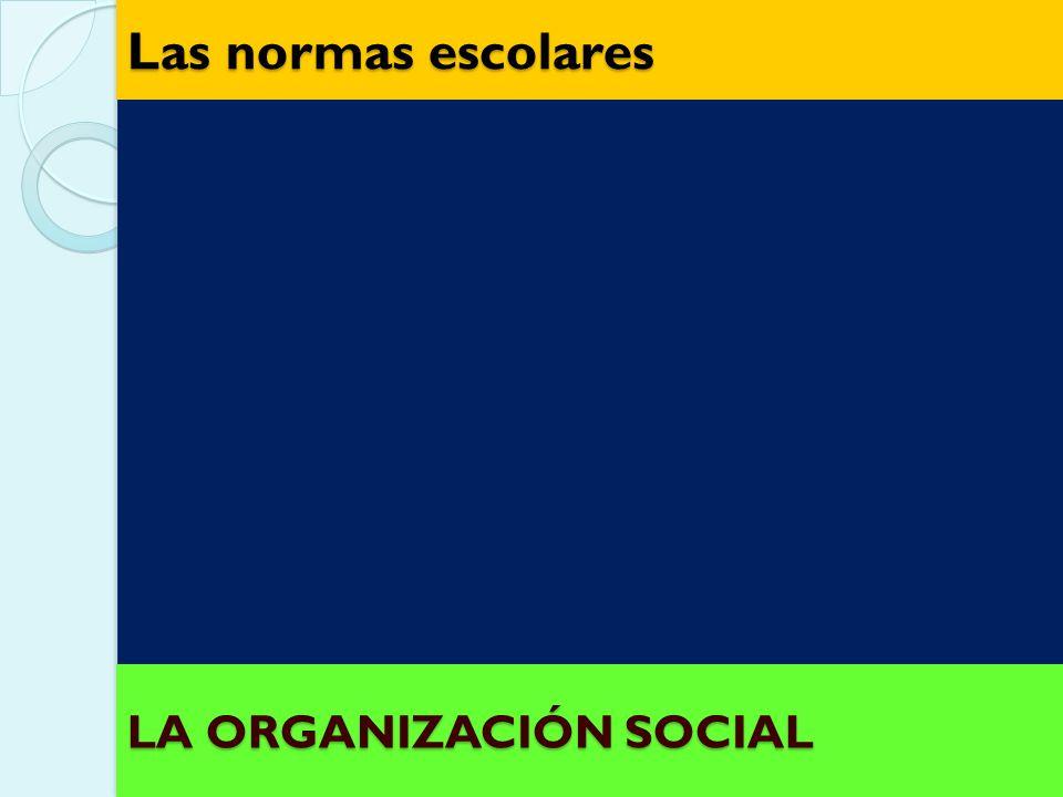 Las normas escolares LA ORGANIZACIÓN SOCIAL
