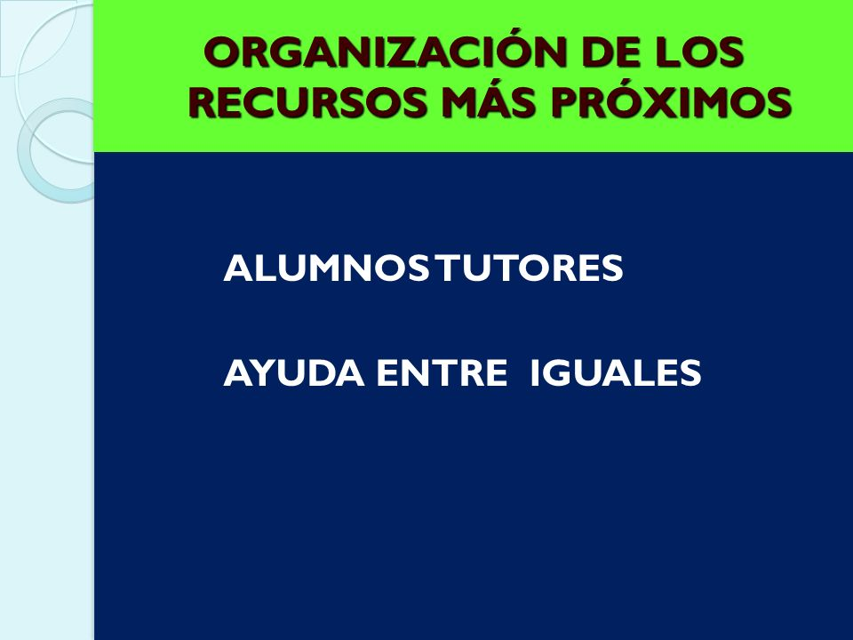 ORGANIZACIÓN DE LOS RECURSOS MÁS PRÓXIMOS