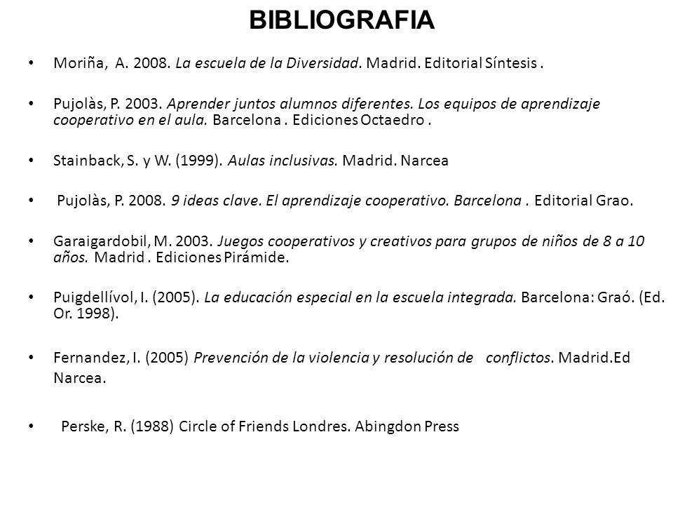 BIBLIOGRAFIA Moriña, A. 2008. La escuela de la Diversidad. Madrid. Editorial Síntesis .