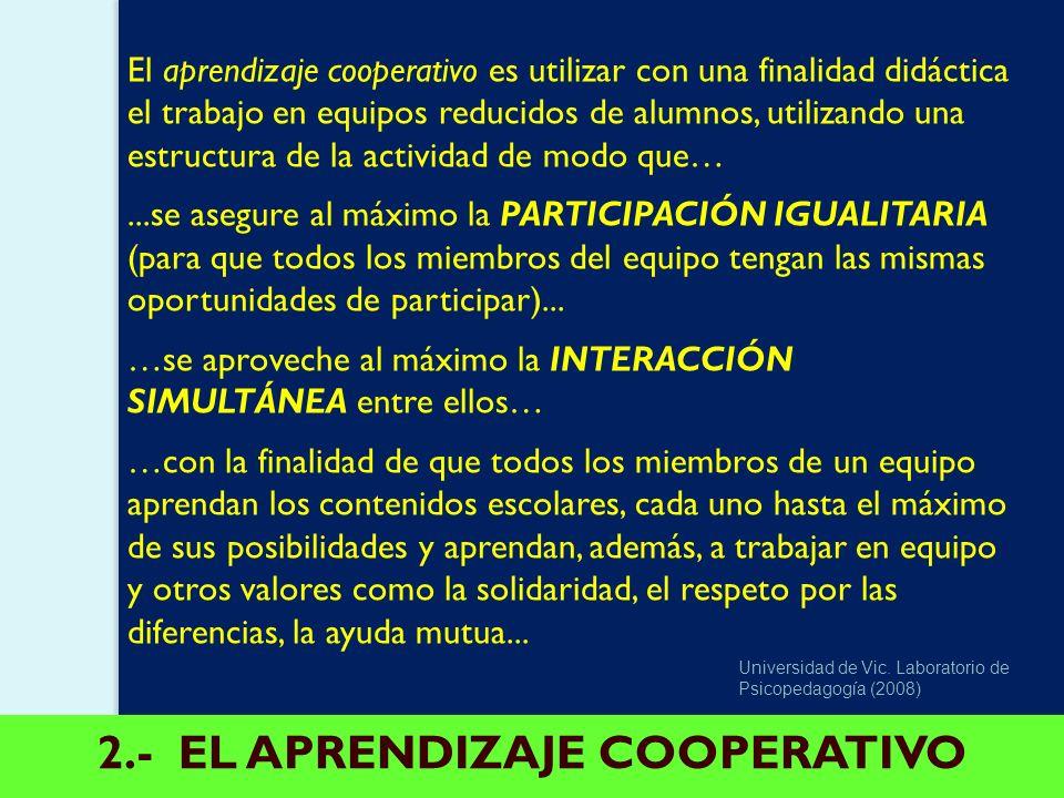 2.- EL APRENDIZAJE COOPERATIVO