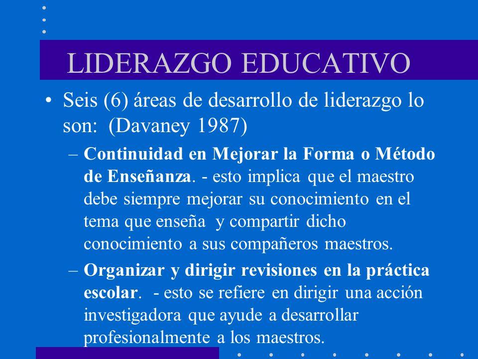 LIDERAZGO EDUCATIVOSeis (6) áreas de desarrollo de liderazgo lo son: (Davaney 1987)