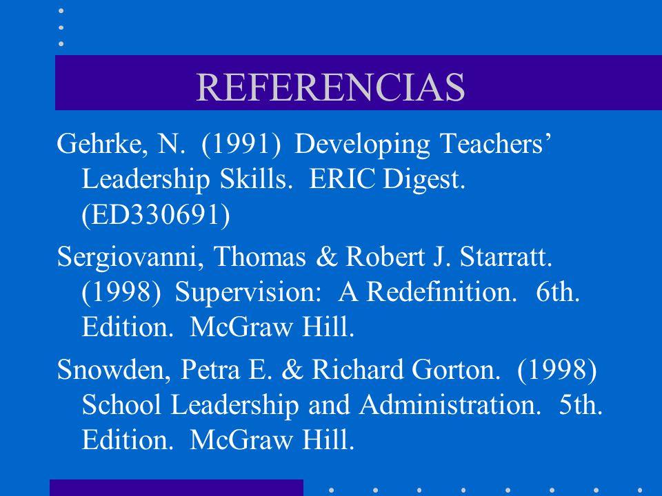REFERENCIASGehrke, N. (1991) Developing Teachers' Leadership Skills. ERIC Digest. (ED330691)