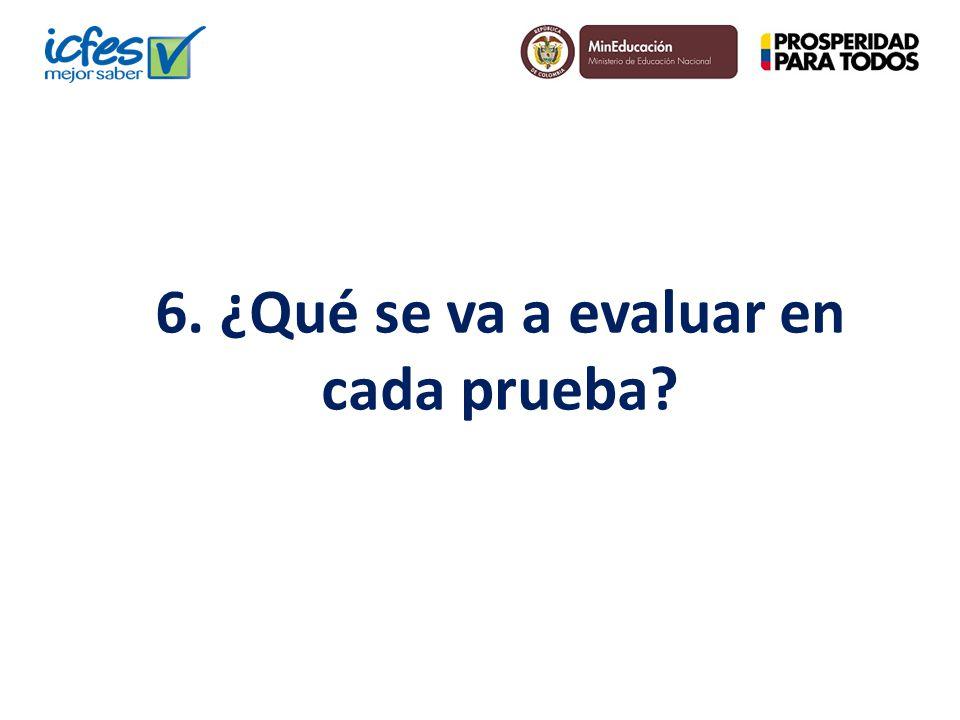 6. ¿Qué se va a evaluar en cada prueba