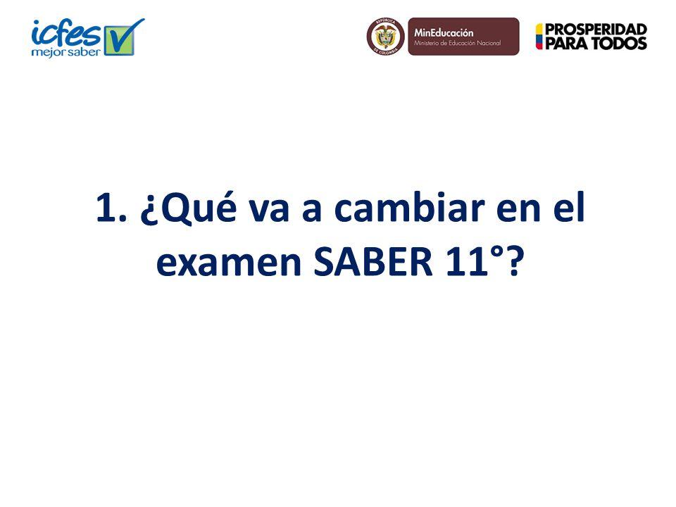 1. ¿Qué va a cambiar en el examen SABER 11°