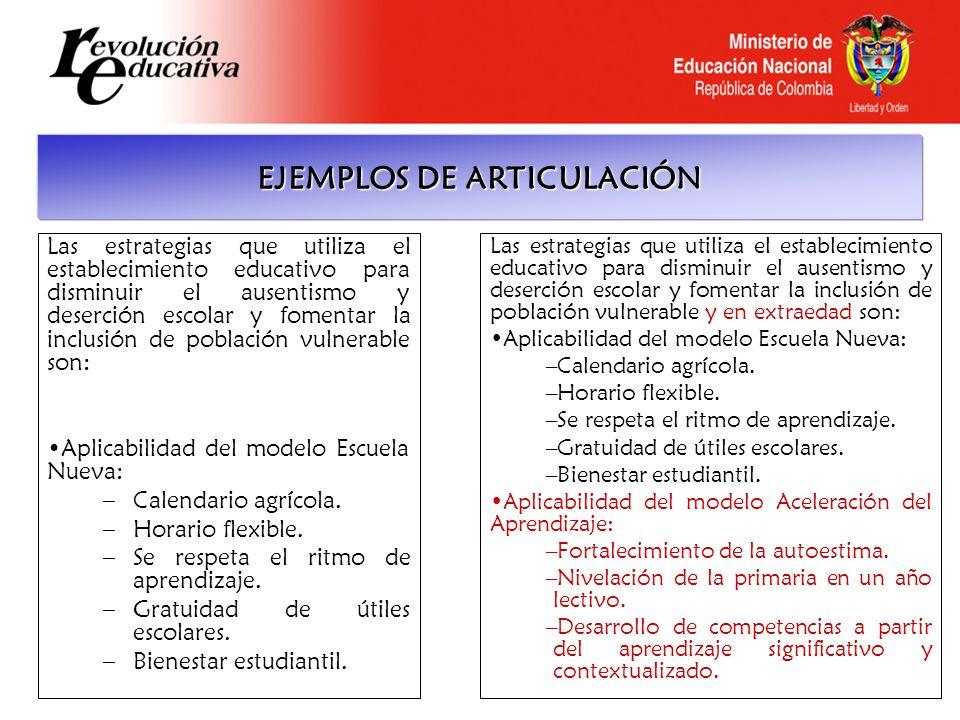 EJEMPLOS DE ARTICULACIÓN