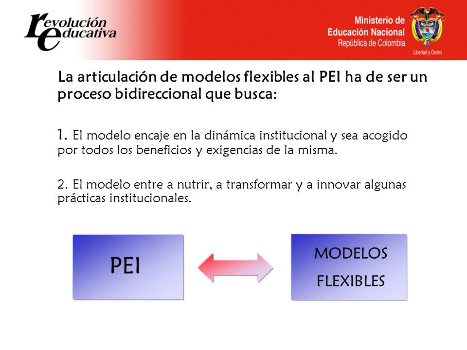 La articulación de modelos flexibles al PEI ha de ser un proceso bidireccional que busca: