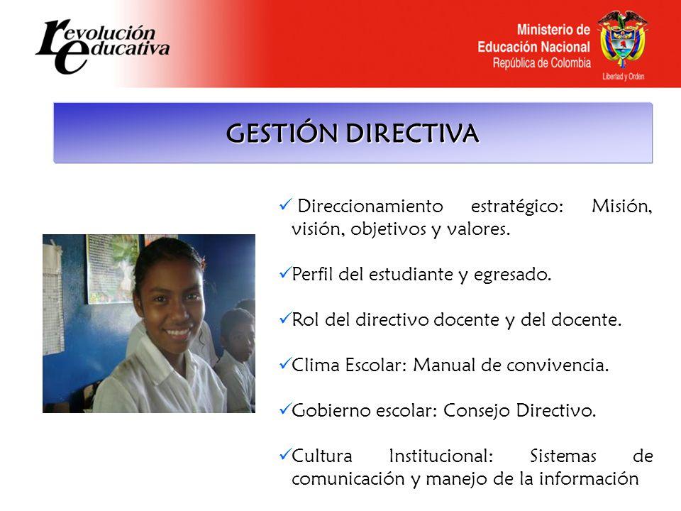 GESTIÓN DIRECTIVA Direccionamiento estratégico: Misión, visión, objetivos y valores. Perfil del estudiante y egresado.