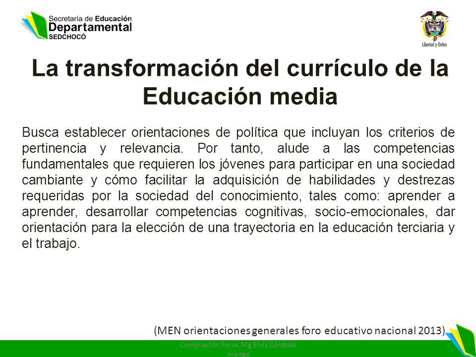 La transformación del currículo de la Educación media